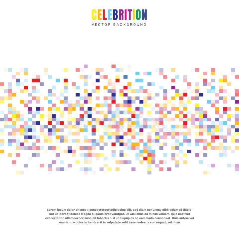 Abstrakcjonistycznego elementu świętowania kwadratów kolorowy wzór odizolowywający na białym tle Mozaiki siatka royalty ilustracja
