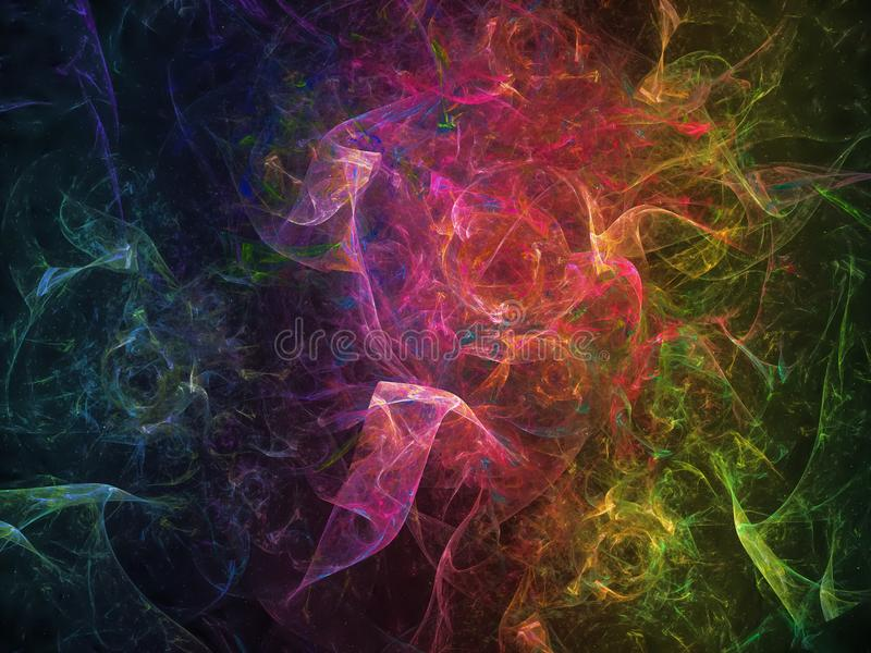 Abstrakcjonistycznego fractal dekoraci surreality pojęcia wiru ornamentu wyobraźni błyszczącego sen wizualny wibrujący surreality ilustracji