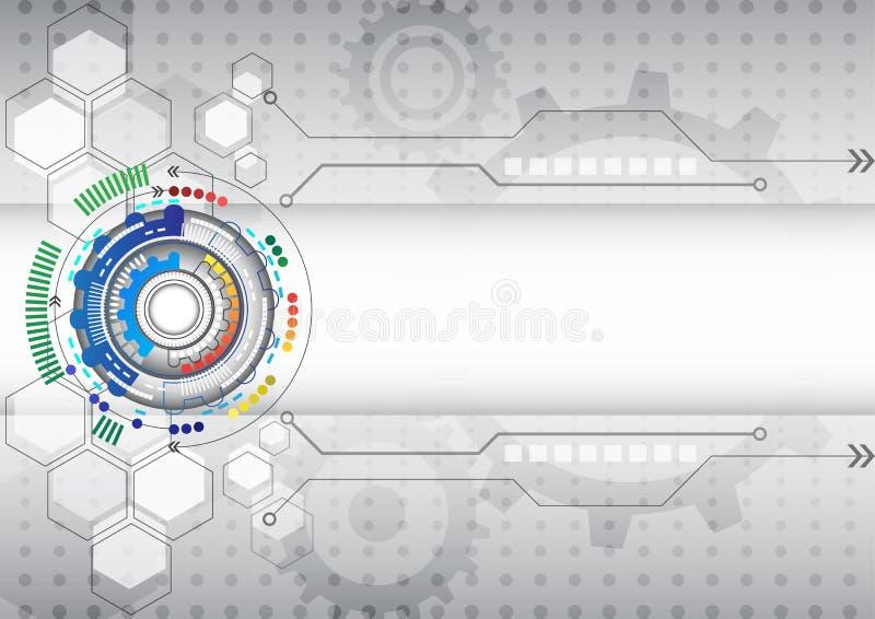 Abstrakcjonistycznego futurystycznego obwodu informatyki biznesu wysoki tło ilustracja wektor