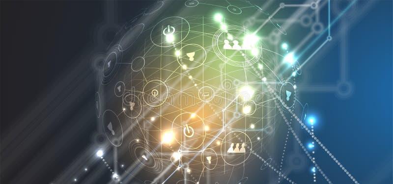 Abstrakcjonistycznego futurystycznego obwodu interneta technologii deski komputerowy b royalty ilustracja