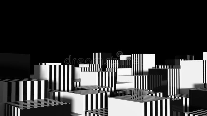 Abstrakcjonistycznego geometrii miasta Czarny I Biały lampasy 3d ilustracja wektor