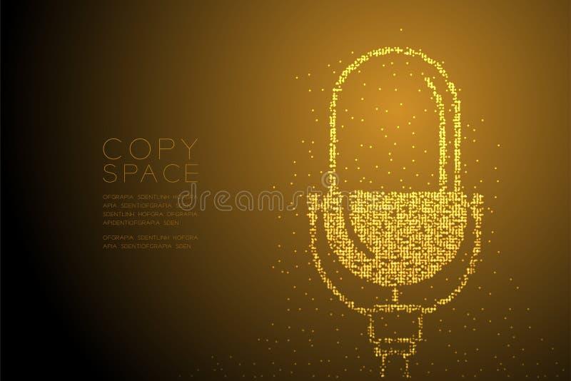 Abstrakcjonistycznego Geometrycznego Bokeh okręgu kropki piksla wzoru Retro mikrofon, Muzyczna wyposażenia pojęcia projekta kolor ilustracja wektor