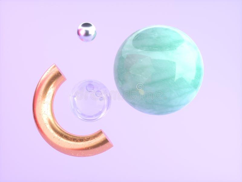 Abstrakcjonistycznego geometrycznego kształta różowego, purpurowego tło zieleni marmuru złocisty półkole unosi się 3d rendering/ ilustracja wektor