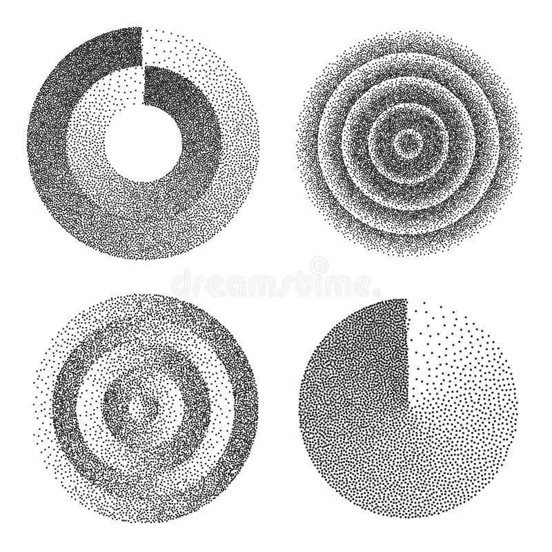 Abstrakcjonistycznego Geometrycznego kształta Ustalony wektor Czerń Kropkowany Round okrąg Ekranowa adra, hałas, Grunge tekstura  ilustracja wektor