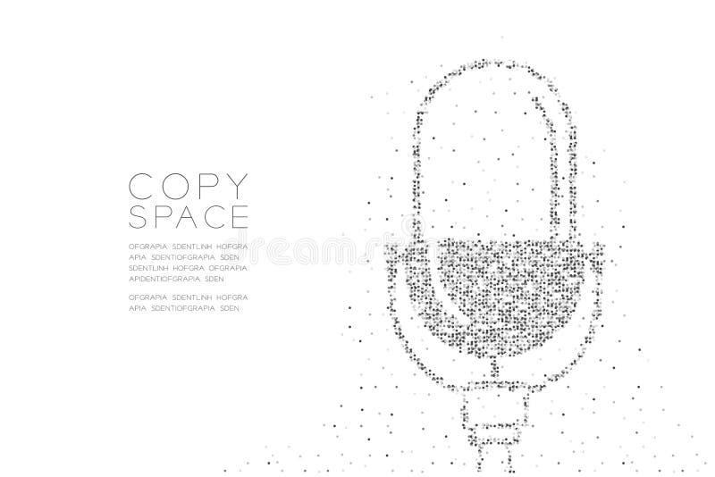 Abstrakcjonistycznego Geometrycznego okrąg kropki piksla wzoru Retro mikrofon, Muzyczna wyposażenia pojęcia projekta czerni kolor royalty ilustracja