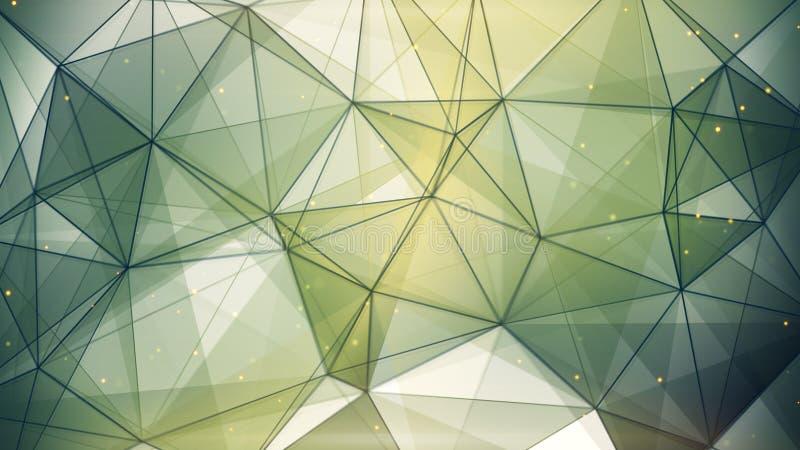 Abstrakcjonistycznego geometrycznego tła ciemnozieleni trójboki i linie