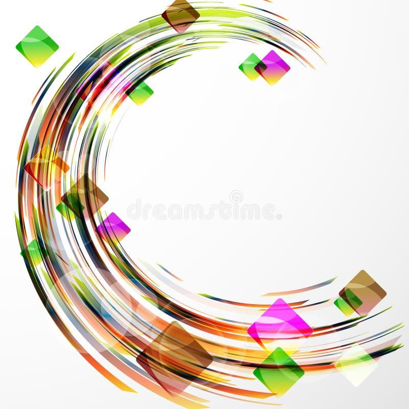 Abstrakcjonistycznego geometrycznego tła round barwiony abstrakcjonistyczny kształt com ilustracji