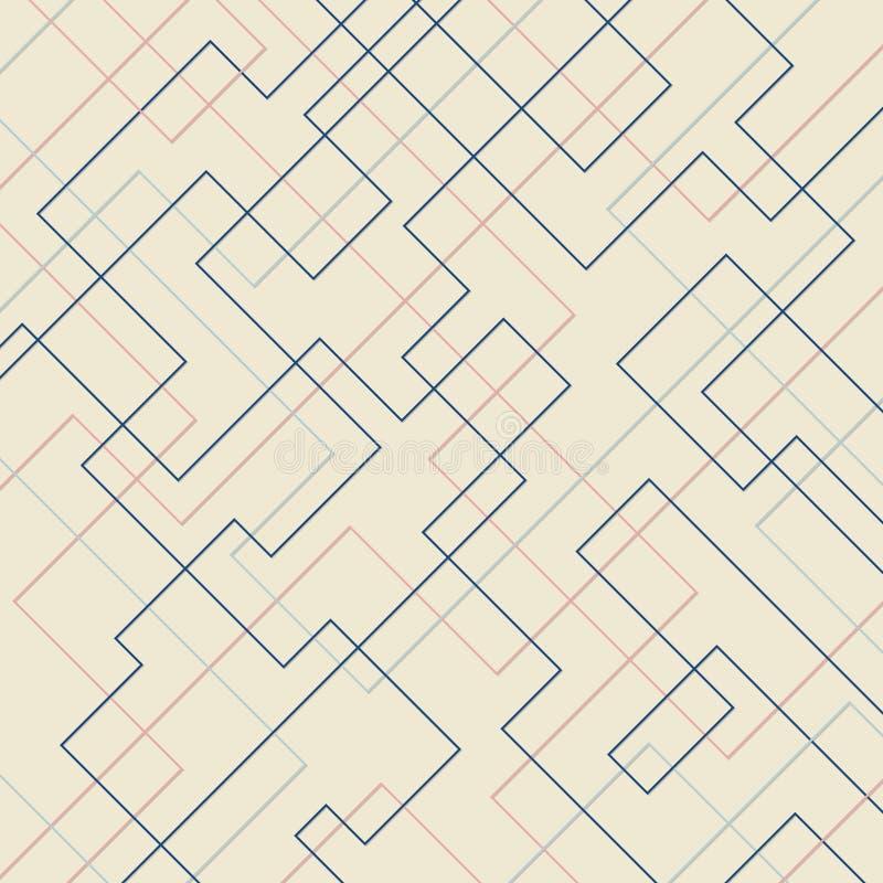 Abstrakcjonistycznego geometrycznego wzoru prostok?ta i kszta?ta cienki liniowy kwadratowy t?o Czysty projekt dla tkaniny tapety, ilustracja wektor