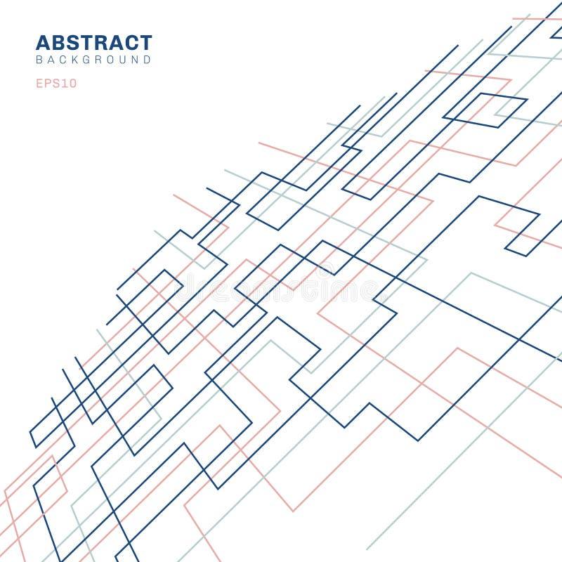 Abstrakcjonistycznego geometrycznego wzoru prostokąta i kształta perspektywy cienki liniowy kwadratowy tło Czysty projekt dla tka royalty ilustracja