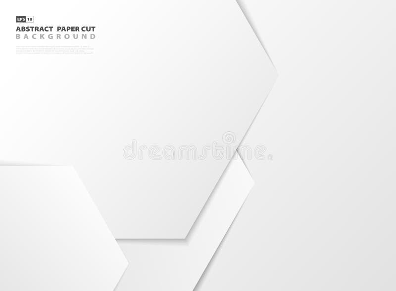 Abstrakcjonistycznego gradientowego białego heksagonalnego deseniowego projekta papieru rżnięty tło eps10 kwiat royalty ilustracja