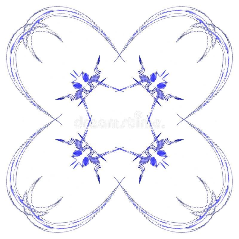 Abstrakcjonistycznego grunge błękita odosobniony kwiecisty wzór ilustracji