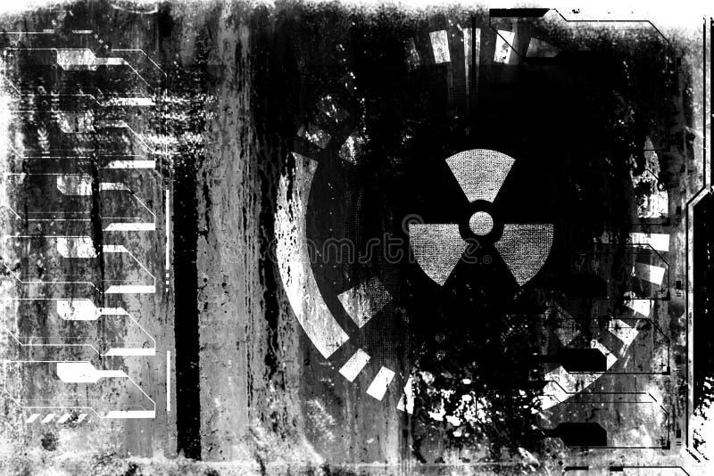 Abstrakcjonistycznego grunge cyber technologii futurystyczny tło Fantastyka naukowa obwodu projekt Czerwony druk na starej grungy ilustracja wektor