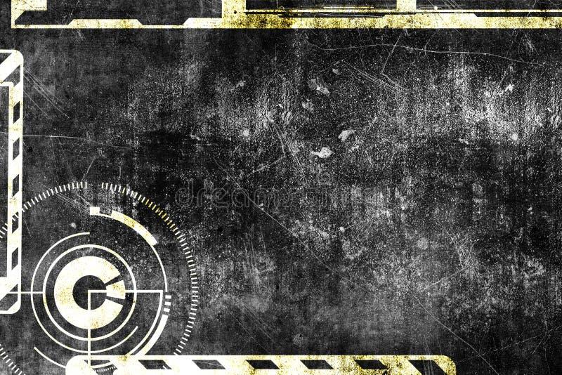 Abstrakcjonistycznego grunge cyber technologii futurystyczny tło Fantastyka naukowa obwodu projekt Projekt na starej grungy powie royalty ilustracja