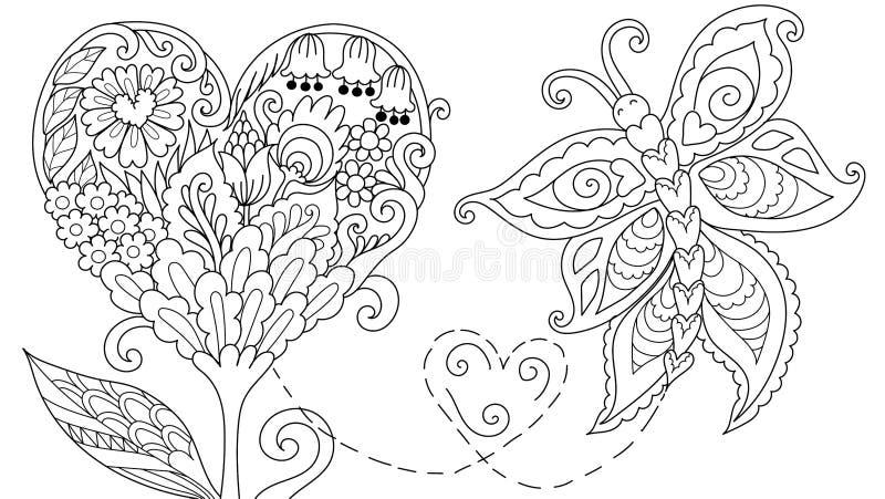 Abstrakcjonistycznego Hearted kształta kwiecisty drzewo ilustracja wektor