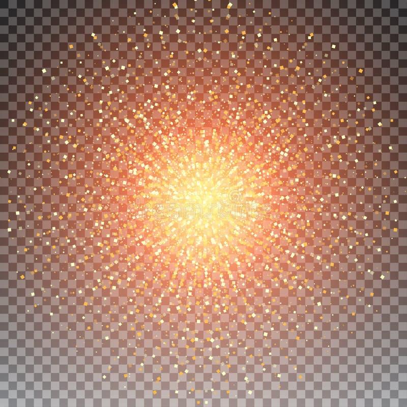 Abstrakcjonistycznego jaskrawego złotego shimmer cząsteczek wektoru rozjarzony kwadratowy tło ilustracja wektor