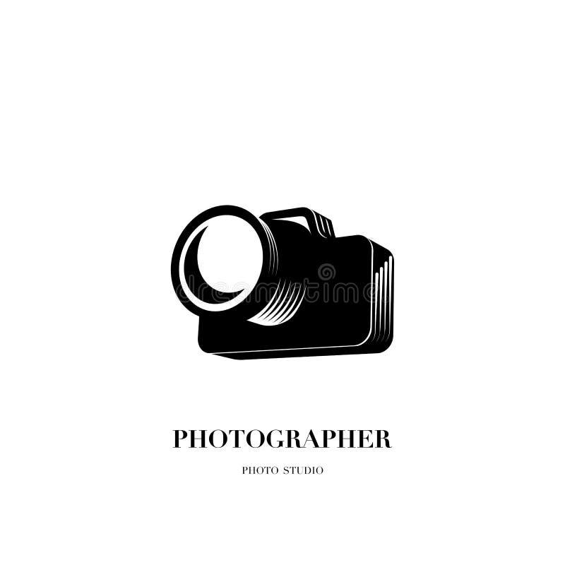 Abstrakcjonistycznego kamera loga projekta wektorowy szablon dla fachowego pho royalty ilustracja