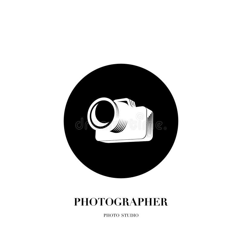 Abstrakcjonistycznego kamera loga projekta wektorowy szablon dla fachowego pho ilustracji