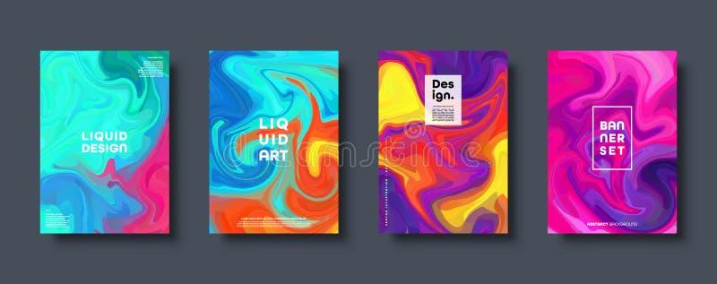 abstrakcjonistycznego kolorowe geometrycznego t?a Ciekłe dynamiczne gradient fale Fluid marmurowa tekstura Nowo?ytne pokrywy usta ilustracja wektor