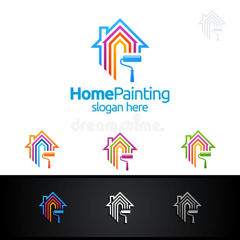 Abstrakcjonistycznego Kolorowego Domowego obrazu loga Wektorowy projekt royalty ilustracja