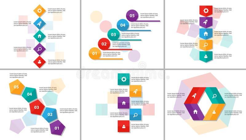 Abstrakcjonistycznego kolorowego Infographic elementów prezentaci szablonu płaski projekt ustawia dla broszurki ulotki ulotki mar ilustracji