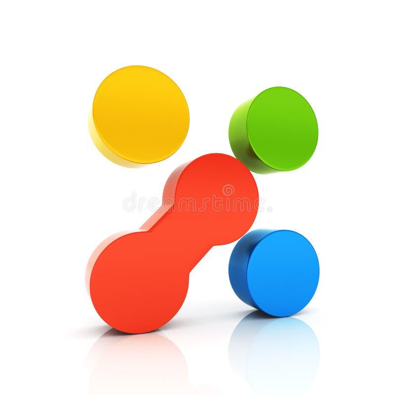 Abstrakcjonistycznego koloru kruszcowy symbol z unikalnym elementem ilustracji