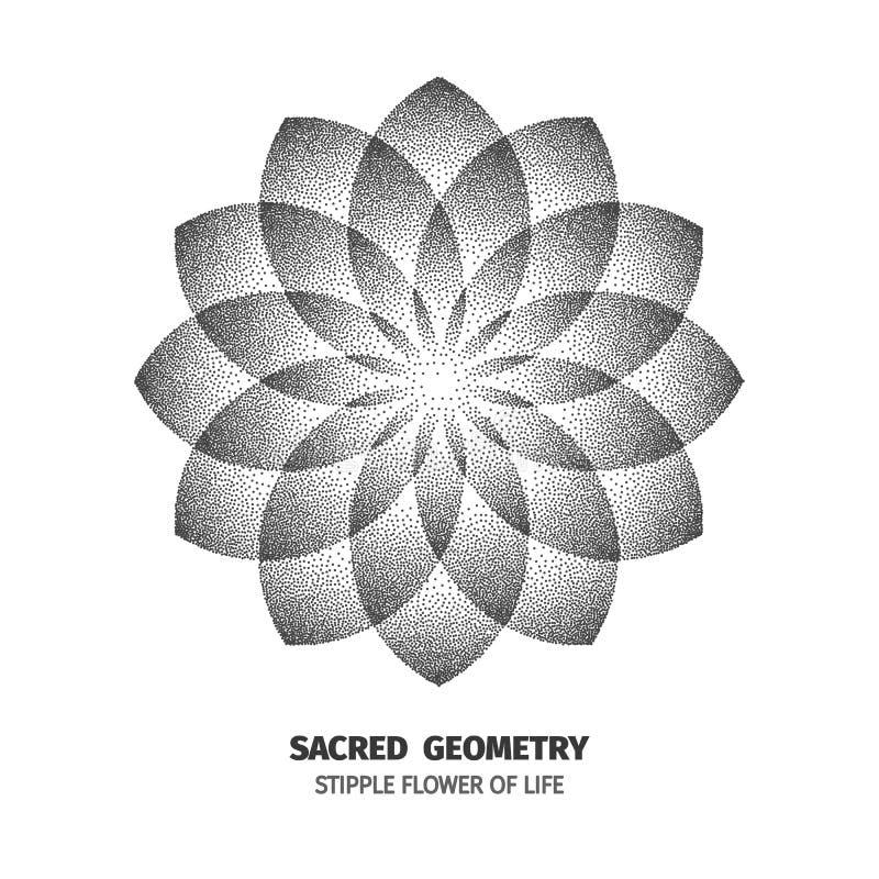 Abstrakcjonistycznego kropka symbolu geometrii święci phyllotaxis Odosobniony halftone symbol Opposite spiral wektorowa ilustracj ilustracji