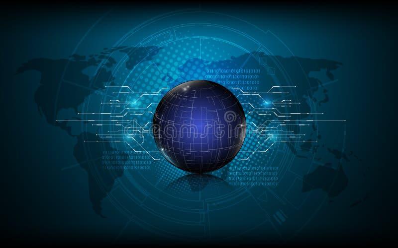 Abstrakcjonistycznego kula ziemska projekta technologii liniowego cyfrowego networking innowaci pojęcia podłączeniowy tło royalty ilustracja