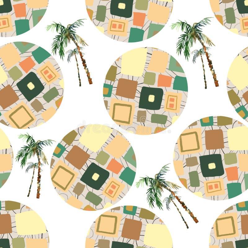 Abstrakcjonistycznego lata geometryczny bezszwowy wzór Akwareli drzewko palmowe, okręgu tło Wodny kolor kwiecisty, minimalni elem ilustracji