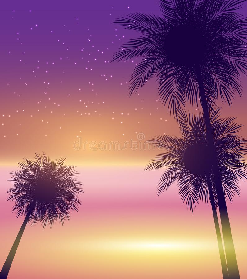 Abstrakcjonistycznego lata tła wektoru Naturalna Palmowa ilustracja ilustracji