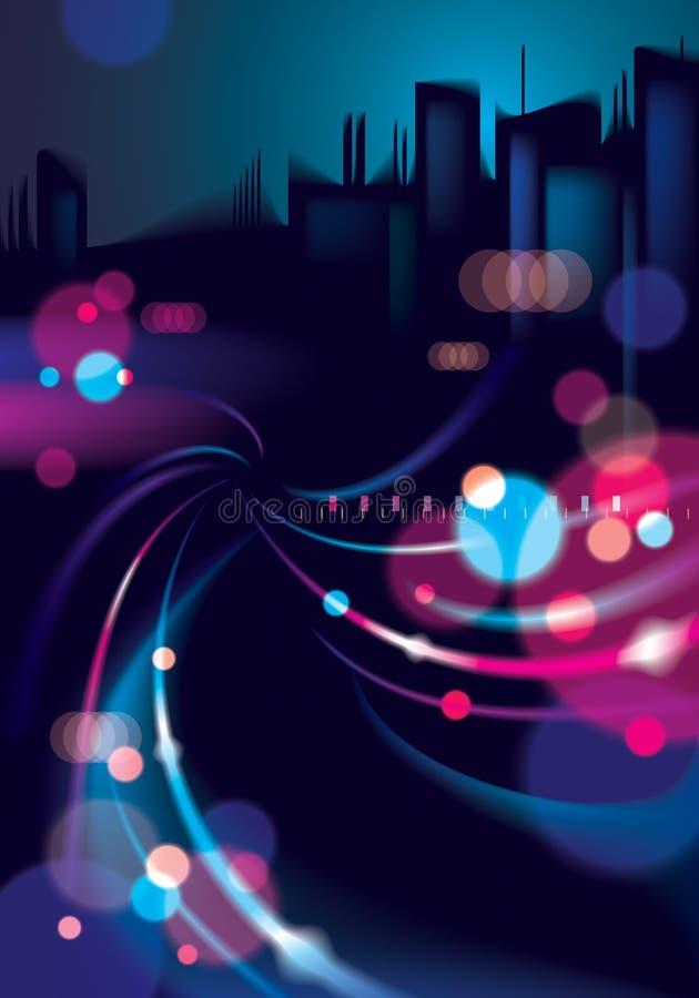 Abstrakcjonistycznego miastowego nocy światła bokeh defocused tło Skutek ve ilustracja wektor