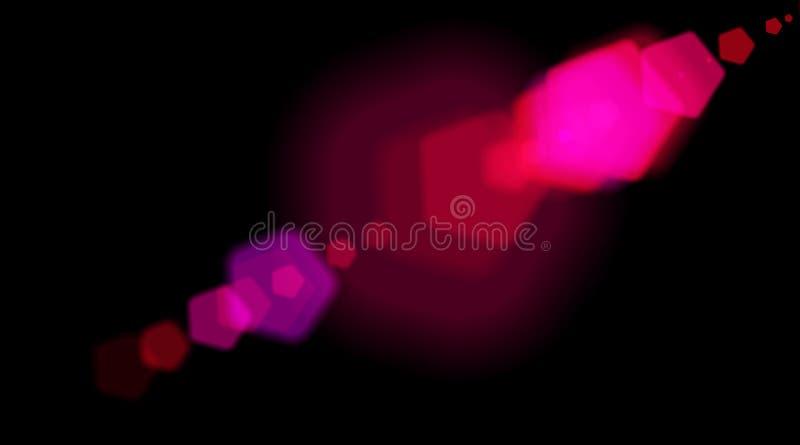Abstrakcjonistycznego multicolor cyfrowego obiektywu racy specjalni oświetleniowi skutki na czarnym tle Świąteczni zamazani świat ilustracja wektor