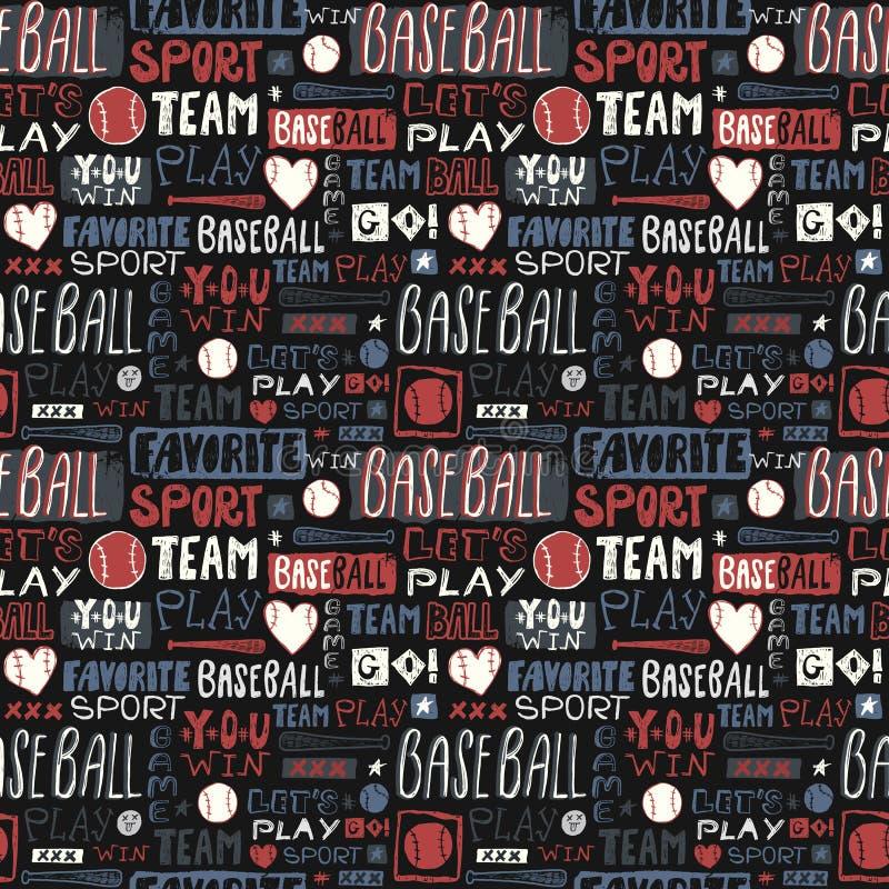 Abstrakcjonistycznego nakreślenia bezszwowy deseniowy baseball dla chłopiec, dziewczyny Literowanie, ulubiony sport, ty wygrywasz ilustracja wektor