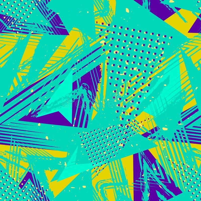 Abstrakcjonistycznego neonowego grunge bezszwowy wzór Wektorowa miastowa uliczna kolorowa tekstura ilustracji