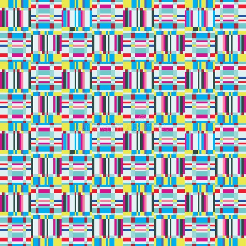 Abstrakcjonistycznego niepokoju geometryczny bezszwowy wzór Piksla mrugnięcia tekstura ilustracja wektor