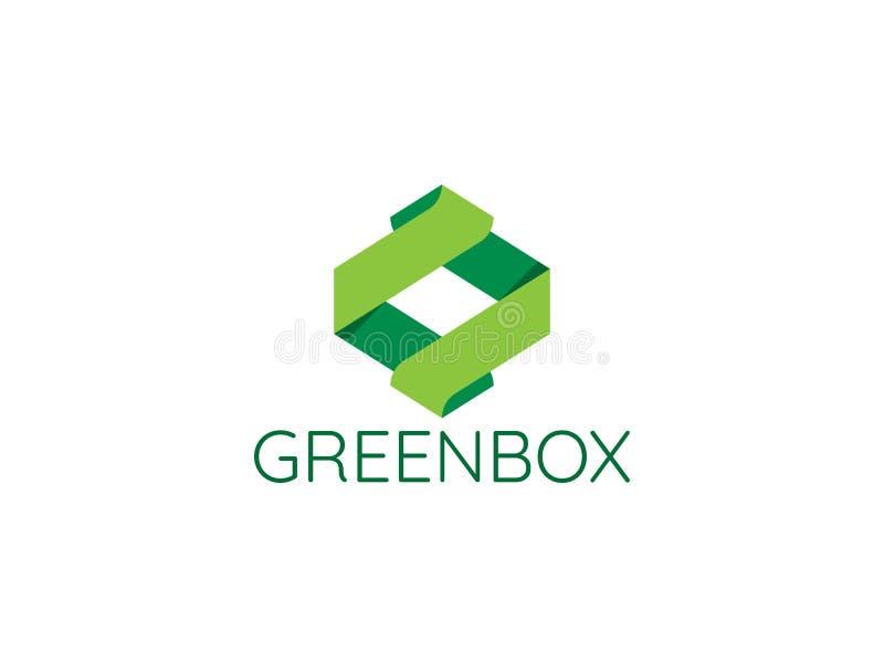 abstrakcjonistycznego nieskończonego geometrycznego sześcianu pudełka loga strzałkowata ikona dla korpusów językowych ilustracji