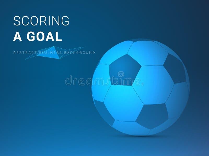 Abstrakcjonistycznego nowożytnego biznesowego tła wektorowy przedstawiać zdobywający punkty cel w kształcie futbol na błękitnym t royalty ilustracja