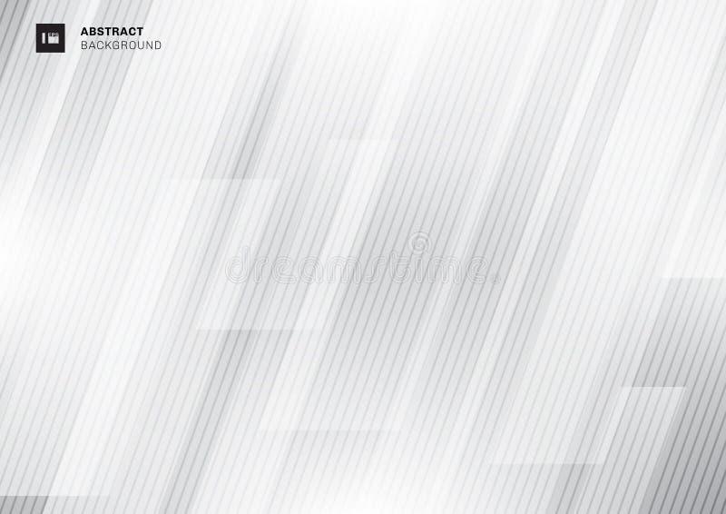 Abstrakcjonistycznego nowożytnego technologii pojęcia szara geometryczna pokrywa się przekątna z linii teksturą na białym tle ilustracji