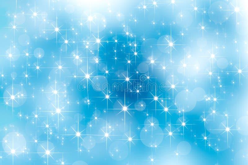 Abstrakcjonistycznego obiektywu racy shinnig gwiazdowi i jaskrawi bokeh skutki na niebieskim niebie Rozjarzony światło skutek tła royalty ilustracja
