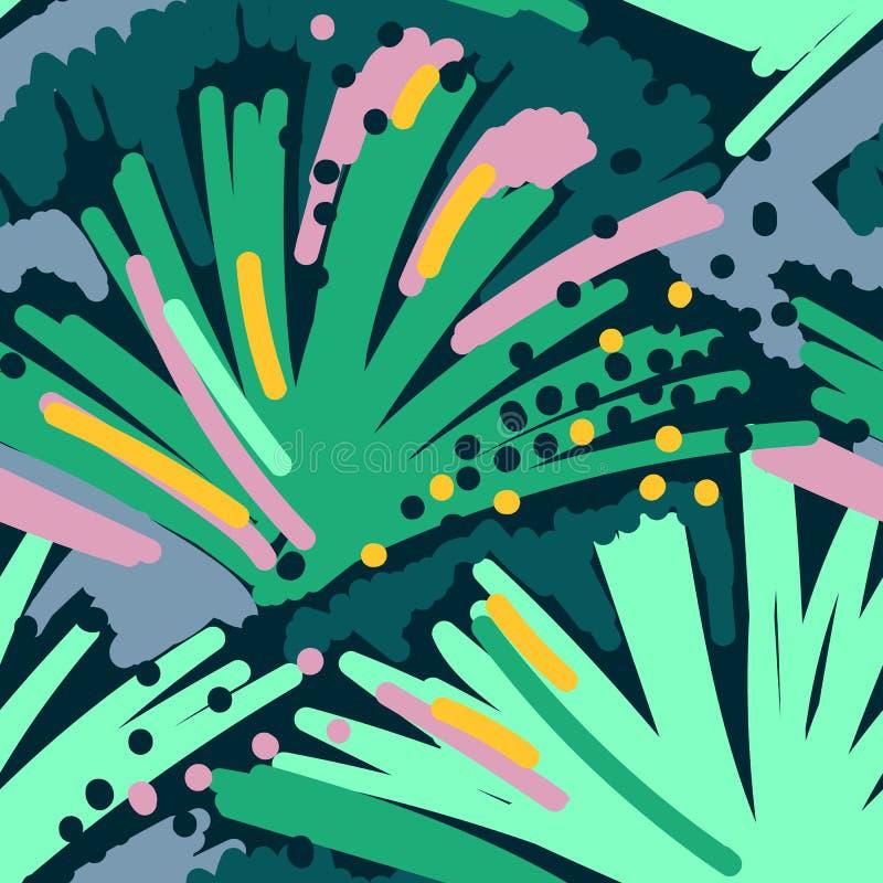 Abstrakcjonistycznego obrazu bezszwowy wzór Wolnej ręki tła Memphis kolorowy styl Ręka rysujący tropikalny tło ilustracja wektor