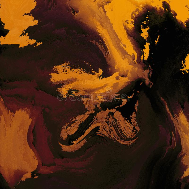 Abstrakcjonistycznego obrazu kolorowa tekstura Dynamiczny tło w pomarańczowych brzmieniach nowoczesna sztuka Ruch mieszanek wz?r royalty ilustracja