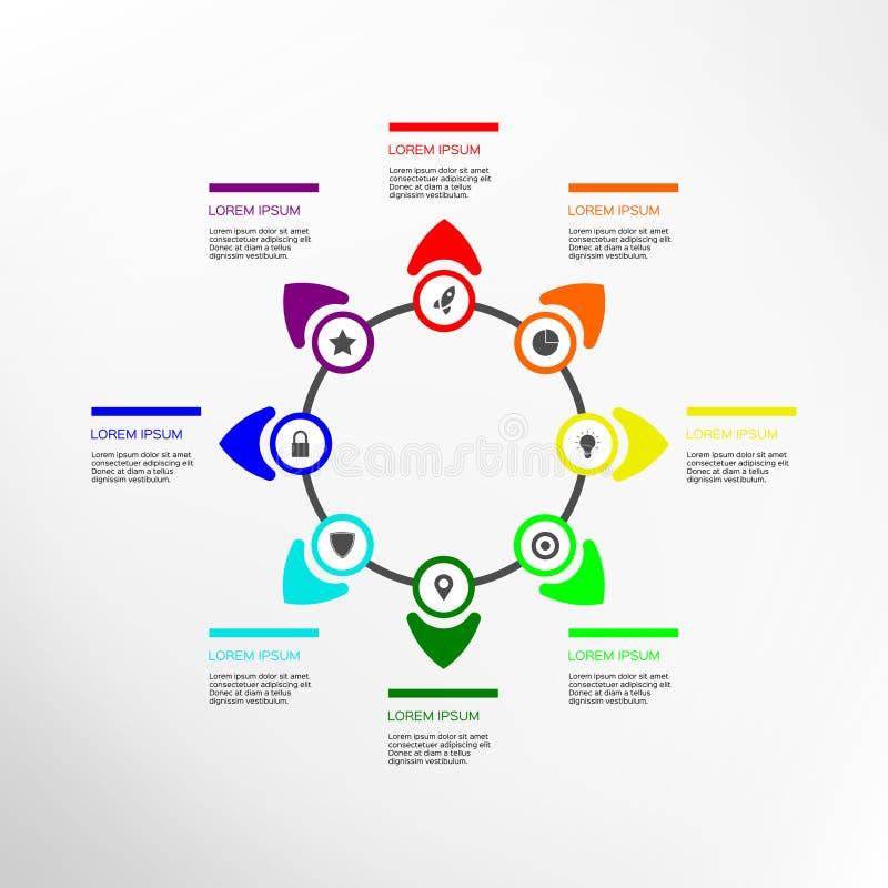 Abstrakcjonistycznego okręgu infographic 8 opcja royalty ilustracja