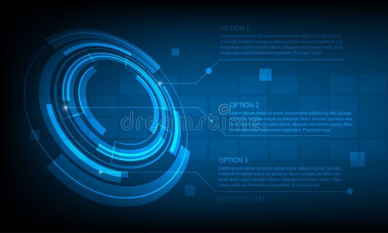 Abstrakcjonistycznego okręgu technologii cyfrowej infographic tło, futurystyczny struktura elementów pojęcia tło royalty ilustracja