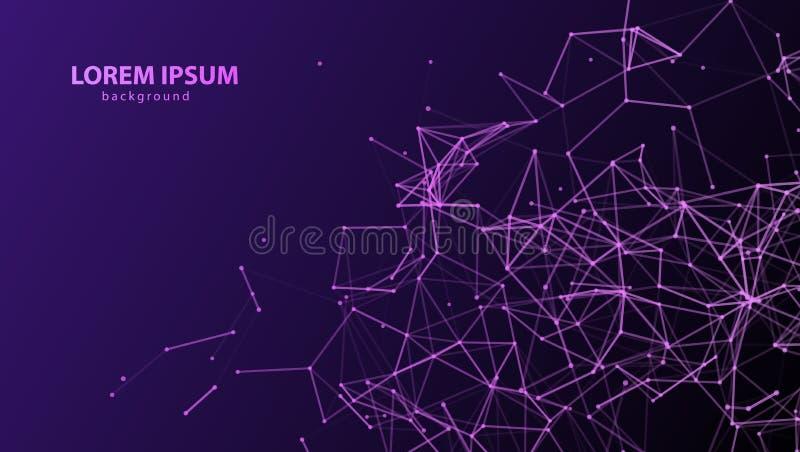 Abstrakcjonistycznego plexus fiołkowy tło z purpurowymi związanymi liniami i kropkami Wektorowy minimalistic geometryczny wzór Si royalty ilustracja