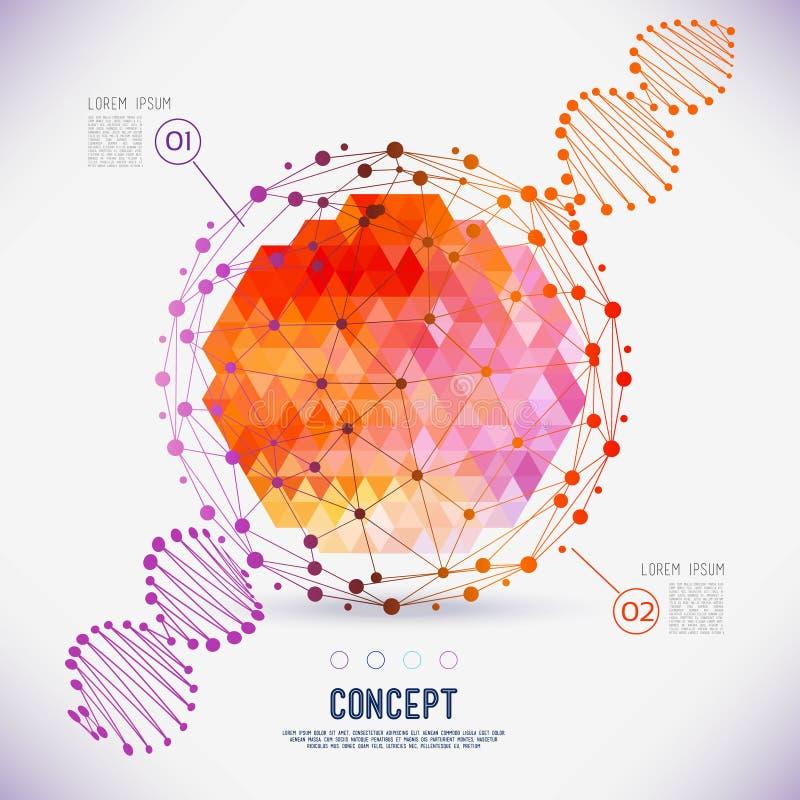 Abstrakcjonistycznego pojęcia geometryczna kratownica zakres molekuły, DNA łańcuch ilustracji