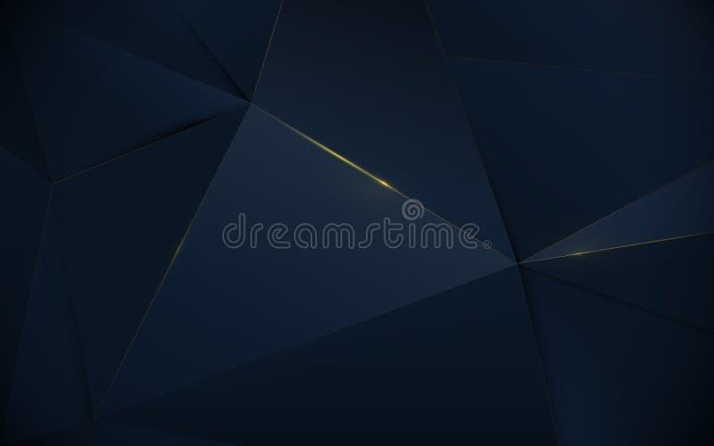 Abstrakcjonistycznego poligonalnego deseniowego luksusowego zmroku - błękitny i złocisty tło royalty ilustracja