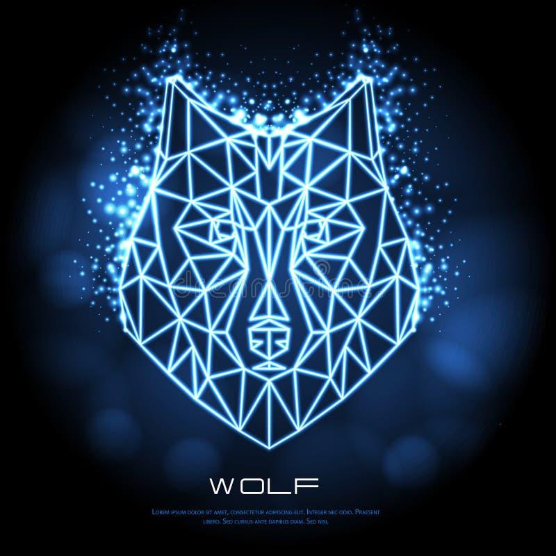 Abstrakcjonistycznego poligonalnego tirangle zwierzęcy wilczy neonowy znak royalty ilustracja