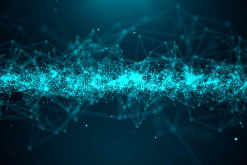 Abstrakcjonistycznego przeniesienia duża technologia Digital krajobraz z Globalny łączyć, niski poli- sieć związek kropkuje i wyk ilustracji