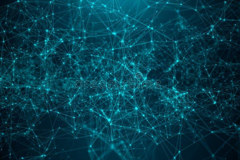 Abstrakcjonistycznego przeniesienia duża technologia Digital krajobraz z Globalny łączyć, niski poli- sieć związek kropkuje i wyk royalty ilustracja