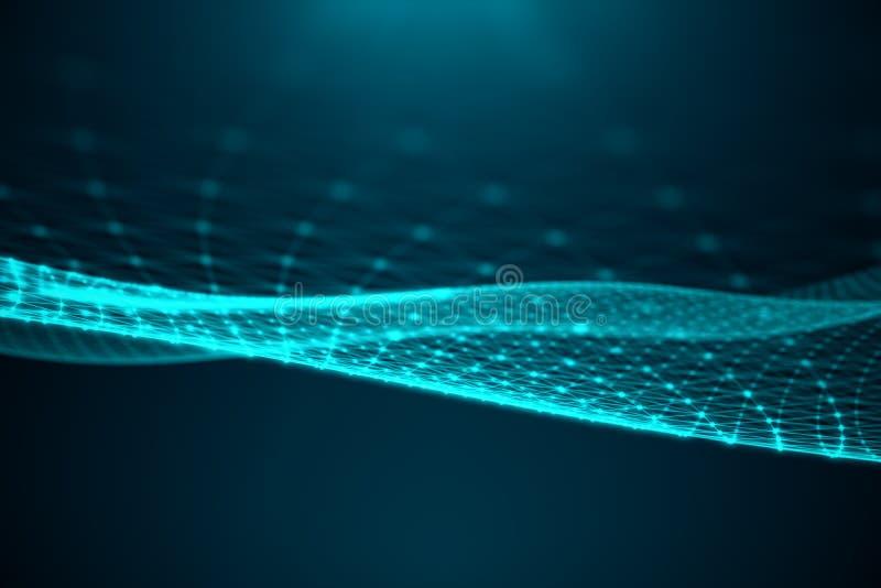 Abstrakcjonistycznego przeniesienia duża technologia Digital krajobraz z Globalny łączyć, niski poli- sieć związek kropkuje i wyk ilustracja wektor