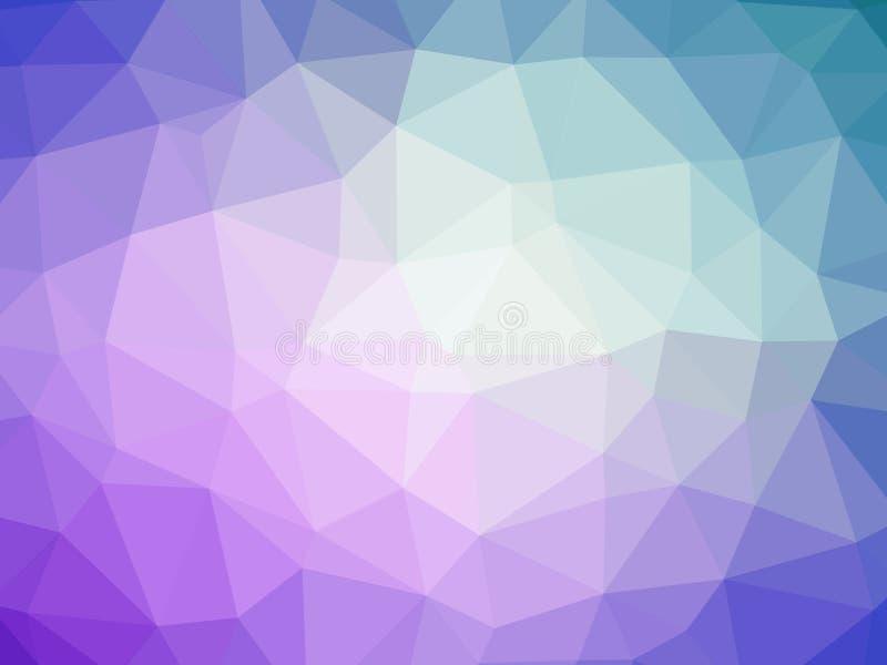 Abstrakcjonistycznego purpurowego błękitnego gradientowego wieloboka kształtny tło ilustracji